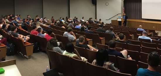 SIU School of Law Auditorium with Prof. Schultz and audience