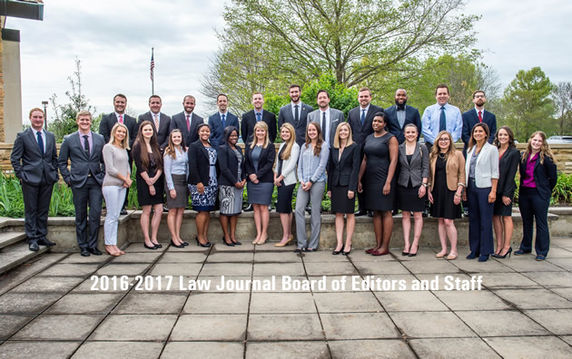 2015-2016 Law Journal board of editors and staff.