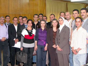 Dean with graduate students at the Yarmouk University in Irbid, Jordan.
