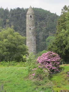 Round stone tower in Glendalough, Wicklow Mountains, Ireland