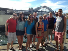 Students in front of the Sydney Harbour Bridge